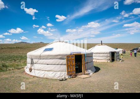 Mongolian traditional nomadic gers. Bayandalai district, South Gobi province, Mongolia. - Stock Photo