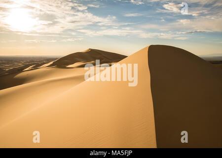 Sand dunes in Gobi desert. Sevrei district, South Gobi province, Mongolia. - Stock Photo