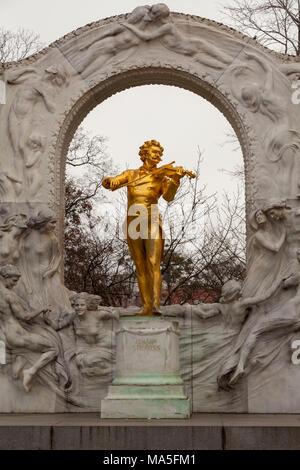 Monument to Johann Strauss II, Vienna, Austria - Stock Photo