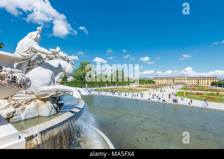 Vienna, Austria, Europe. The The Neptune Fountain in the gardens of Schönbrunn Palace. - Stock Photo
