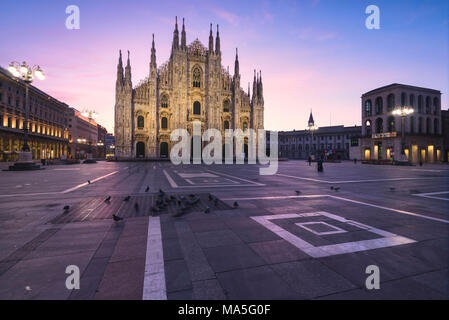 View of the square and the gothic Duomo, the icon of Milan, Lombardy, Italy, Europe. - Stock Photo