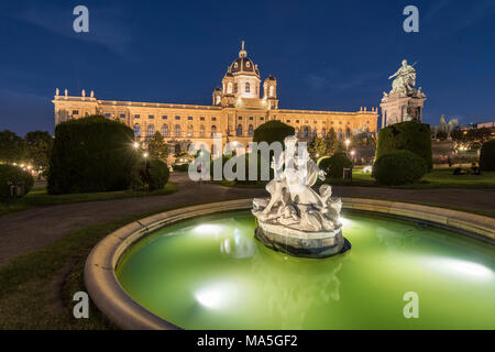 Vienna, Austria, Europe. Tritons and Naiads fountain on the Maria Theresa square with the Art History Museum in the background - Stock Photo