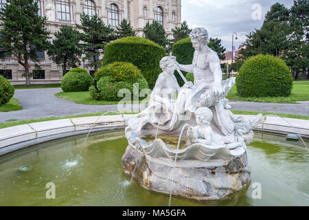 Vienna, Austria, Europe. Tritons and Naiads fountain on the Maria Theresa square - Stock Photo
