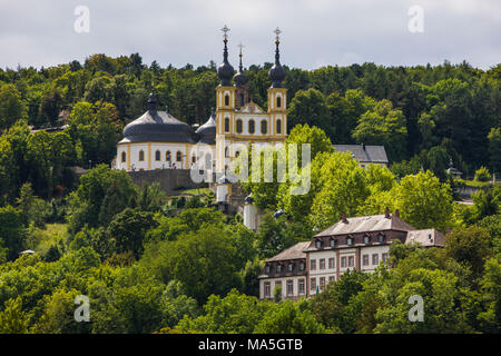 Old  chapel above the Main valley, Franconia, Bavaria, Germany - Stock Photo