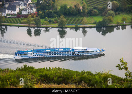 the Vineyards around Piesport and a cruise ship on the  Moselle river, Moselle valley, Rhineland-Palatinate, Germany - Stock Photo