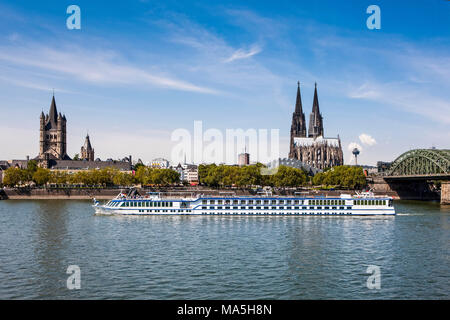 Rhine bridge and Cathedral of Cologne above the Rhine, Germany - Stock Photo