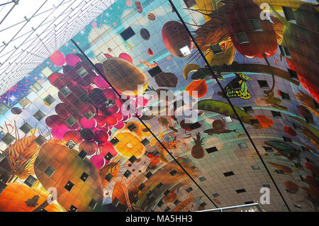 Market Hall / Markthal in Rotterdam, Interior, artwork, Hoorn des Overvloeds - Stock Photo
