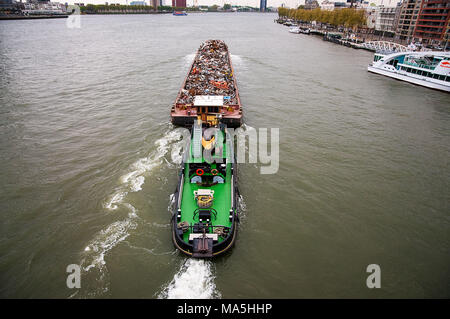 Ship on the Nieuwe Maas, Rotterdam - Stock Photo