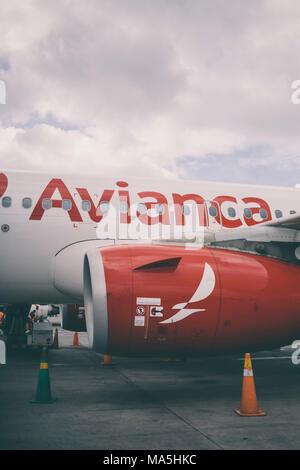 avianca airplane in ministro pistarini airport in buenos aires argentina - Stock Photo