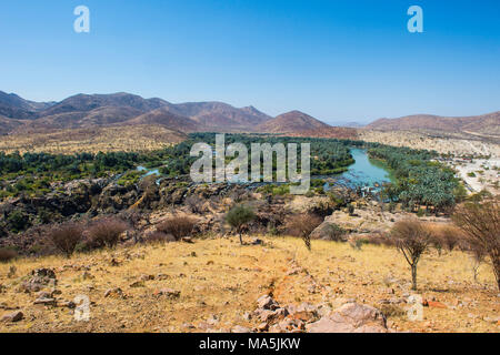 The Kunene River on the border between Angola and Namibia, Namibia - Stock Photo