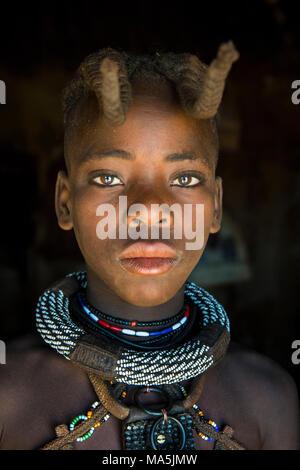 Very pretty Himba girl, Kaokoland, Namibia - Stock Photo