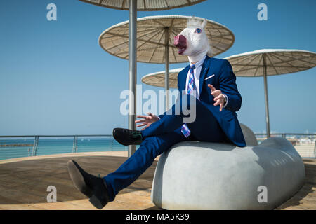 Young manager in suit under umbrellas spreads his hands. Unusual manager in comical mask is surprised. Funny unicorn sits at city promenade - Stock Photo