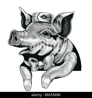 Engraving style pig, smiling pig design elements for delicatessen shop