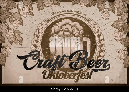 Craft beer ads, retro engraving style beer barrel and hops elements for oktoberfest festival - Stock Photo