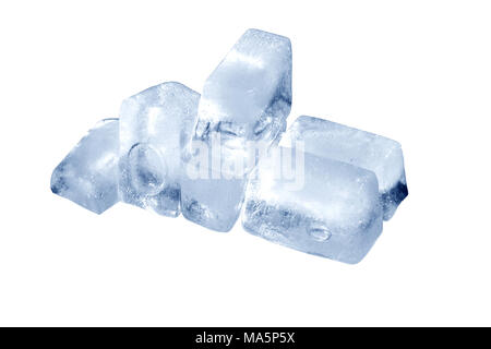 Few ice cubes isolated on white background with clipping path - Stock Photo