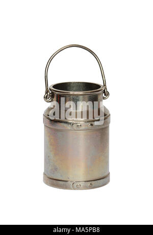 Miniature model of retro metal milk can isolated on white with clipping path - Stock Photo