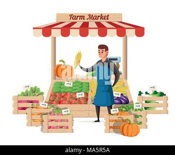 Farmer vegetable seller at the counter organic food farm. Street seller with stall with vegetable. Vector illustration isolated on white background. W - Stock Photo
