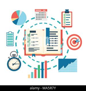 Time management planning concept. Planning, time organization of business. Vector illustration isolated on white background. Web site page and mobile  - Stock Photo