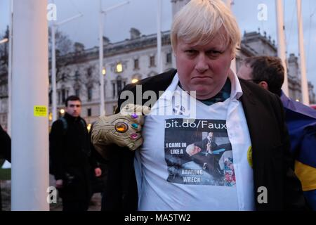 Rally for a Fair Vote in Parliament Square, London. Christopher Wylie & Shahmir Sanni. 29th March 2018 - Stock Photo