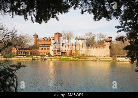 Turin - The Borgo Medievale castle. - Stock Photo