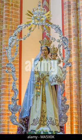 ANTWERP, BELGIUM - SEPTEMBER 5, 2013: Stone relief of Immaculate Conception from calvary beside St. Pauls church (Paulskerk). - Stock Photo
