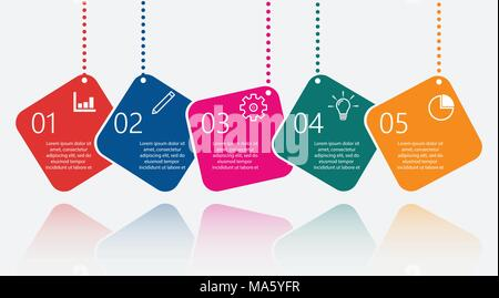 Timeline infographics design template with 5 options, process diagram, vector eps10 illustration - Stock Photo