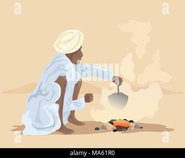 a vector illustration in eps 10 format of an Indian man making chai over a fire outside in a desert landscape - Stock Photo
