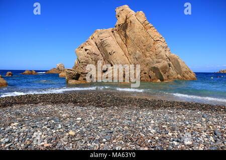 Beautiful beach in summer - Li Tinnari beach - North Coast Sardinia - Stock Photo