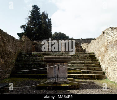 Pompeii. Ancient Roman city. Temple of Asclepius, also called Temple of Jupiter Meilichios. Dating from around the 2nd century BC. Altar. Campania, Italy. - Stock Photo