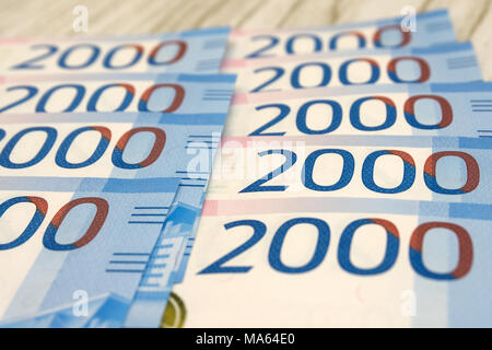 Heap of russian ruble banknotes. banknotes in denominations of five thousand - Stock Photo