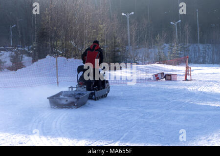 Man driving sports snowmobile in Finnish Lapland in a sunny day - Stock Photo