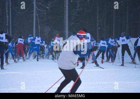 skiers compete at the start in the men's 15km Skiathlon at the winter Olympic games - Stock Photo