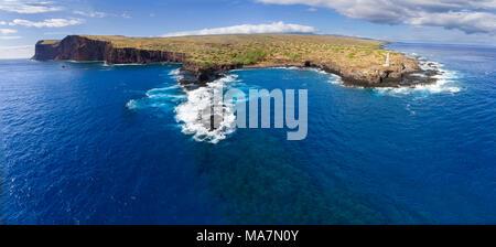 An aerial view of Palaoa Point and Kaunolu Bay off the island of Lanai, Hawaii, USA. The Cape Ka'ea Lighthouse, was originally acetylene-powered and f - Stock Photo
