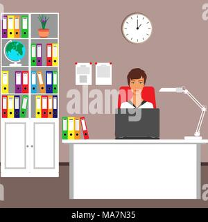 Business Woman at the workplace, Desk, laptop, Cabinet, lamp, chair, wall clock, globe, folders documents Vector illustration in flat style - Stock Photo