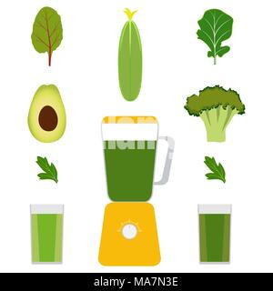Blender, vegetables and vegetable juices. Avocado, cucumber, broccoli, herbs. Glasses with green juice Vector illustration isolated - Stock Photo