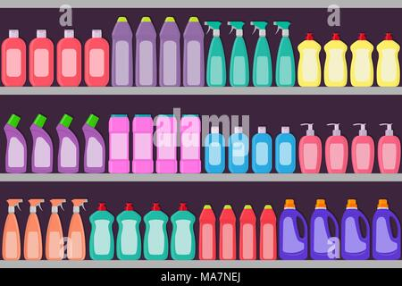 Supermarket shelves with cosmetic, detergent, hair care products . Vector illustration - Stock Photo
