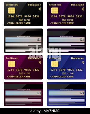 Realistic credit cards, view from both sides, set. Vector illustration, isolated - Stock Photo