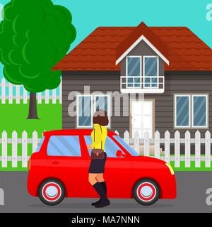 Private house, tree and fence, car and woman in the foreground. Traditional cottage with car and woman standing near. Home and automobile in flat styl - Stock Photo