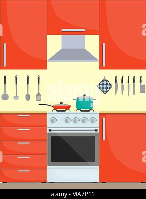 Modern stylish kitchen interior. Kitchen utensils and appliances, furniture, gas stove. Pan and frying pan on the stove. Vector illustration in flat s - Stock Photo