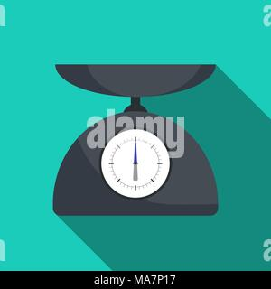 Cute kitchen scale in flat style with long shadow. Vector illustration - Stock Photo