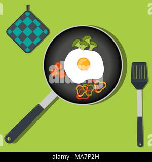 Traditional Breakfast. Scrambled eggs with vegetables on frying pan. Vector illustration in flat style - Stock Photo