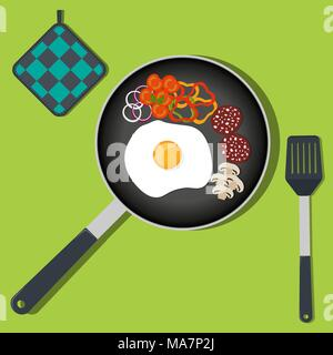 Traditional Breakfast. Scrambled eggs with vegetables and sausage on frying pan. Vector illustration in flat style - Stock Photo