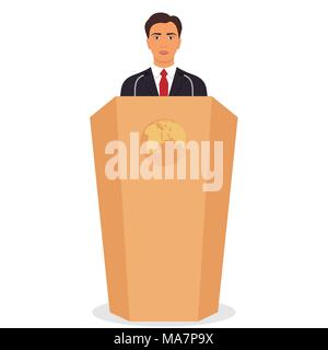 Man in a business suit stands on a podium in front of the microphones. Important event, business conference concept. Vector illustration - Stock Photo