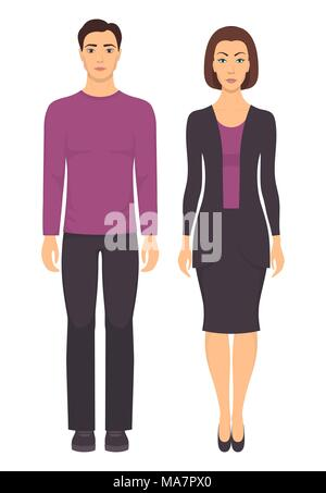 Couple in elegant clothes. Young man and woman standing in full growth in casual clothes. Basic wardrobe. Vector illustration, isolated - Stock Photo
