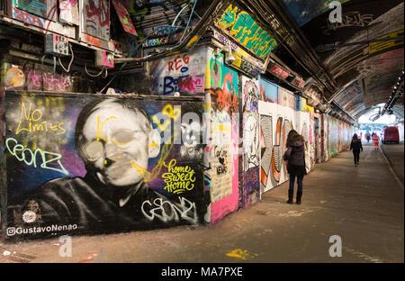 Professor Stephen Hawking street art in the Leake Street graffiti tunnel below Waterloo Station in Lambeth, London, UK - Stock Photo