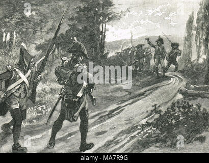 Henri du Vergier, comte de la Rochejaquelein, encountering the republican soldiers, 28 January 1794 - Stock Photo