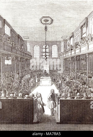 Interior of the Old House of commons at the time of George II - Stock Photo