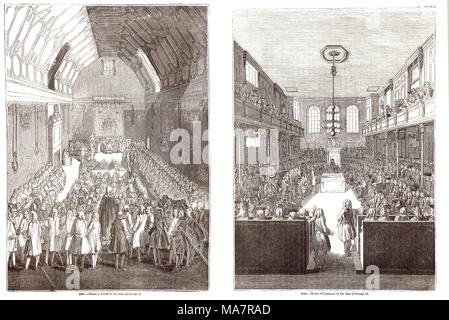 Interiors of the Old House of lords and commons at the time of George II - Stock Photo