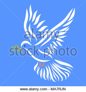 White dove with a twig in its beak on a blue background, pattern - Stock Photo