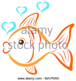 A swimming fish and bubbles in the shape of a heart - Stock Photo